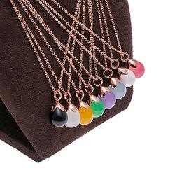Rosé ketting met hanger wit agaat Faberge