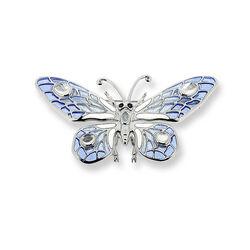 zilveren vlinderbroche blauw emaille en edelstenen