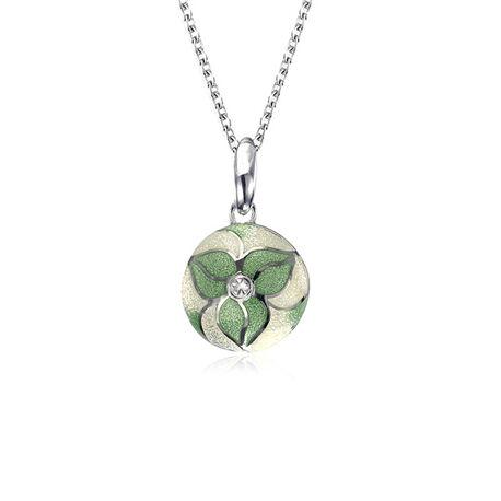 Zilver collier met bloemhanger groen emaille wit saffier Nicole Barr