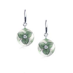 Nicole Barr Zilveren Oorhangers Bloem Groen Emaille