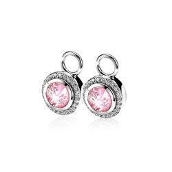 Zilver creoolhangers rond roze zirkonia ZICH1244r Zinzi