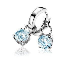 Zinzi zilveren creoolhangers licht  blauw zich1300b