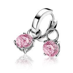 Zilveren oorbedels van Zinzi met roze zirkonia