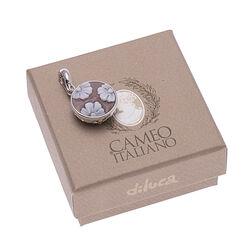 Ronde zilveren hanger schelpcamee van Diluca Cameo Italiano