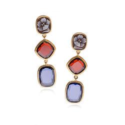 Diluca oorhangers rood, blauw zirkonia en een camee