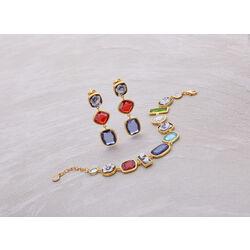 Camee oorbellen lang met zirkonia verguld zilver