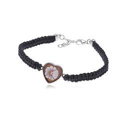 zwart armbandje met hartje camee Diluca