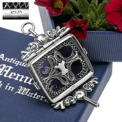 zilver horlogesleutel met filligrain