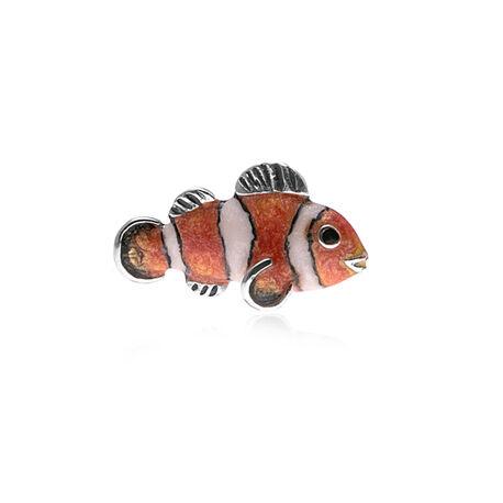 Zilveren miniatuur clown vis met emaille Saturno
