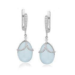 Tatiana Faberge Zilveren Oorbellen Blauw Jade Guirlande