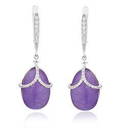 Tatiana Faberge Zilveren Oorhangers Paars Jade