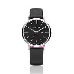 Stalen horloge zwarte band van Zinzi