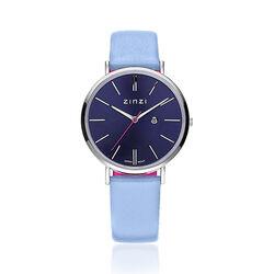 Zinzi Retro Horloge Blauw Kast Leren Band Ziw403b