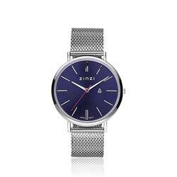 Zinzi Retro Horloge Stalen Band Blauwe Wijzerplaat Ziw403m