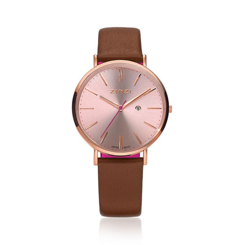 Zinzi Retro Horloge Bruine Band Rose Kast Ziw405