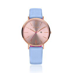 Zinzi Retro Dameshorloge Rose Blauwe Band Ziw405b