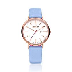 Zinzi Retro Horloge Rose Lichtblauwe Band Ziw408b