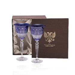 Tatiana Faberge Blauwe Kristallen Wijnglazen