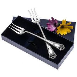 Stel zilver zuurvorken model luxe parelrand