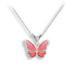 Nicole Barr zilver collier vlinder roze emaille