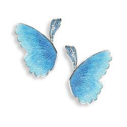 Nicole Barr Zilveren Oorstekers Vlindervleugels Blauw Emaille