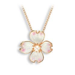 Roseplated collier met bloemhanger met akoyaparel Nicole Barr