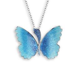 Nicole Barr Zilveren Collier Met Vlinder Hanger Blauw