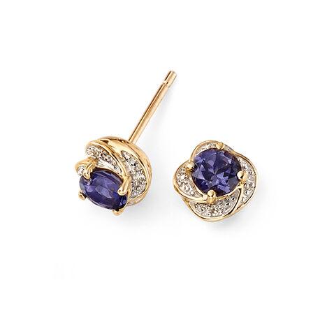 Gouden oorbellen met ioliet en briljant Elements Gold