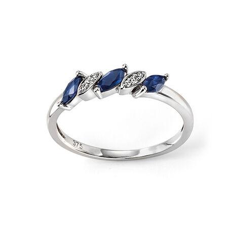 Witgouden ring saffier briljant Elements