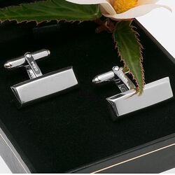 Carrs zilveren smalle langwerpige manchetknopen