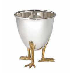 Zilveren Eierdop Op Vergulde Kippenpootjes