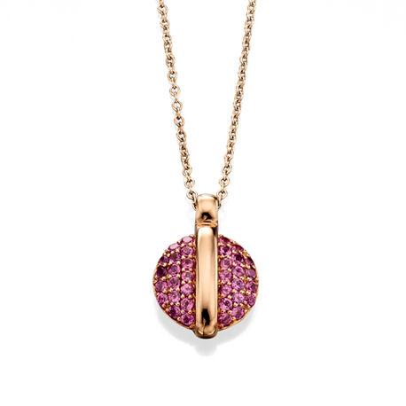 Roségouden collier met roze granaat Fiorelli