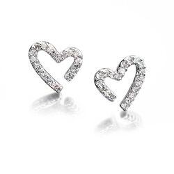 9 krt oorbellen open hart met diamant Fiorelli Contour GE2049