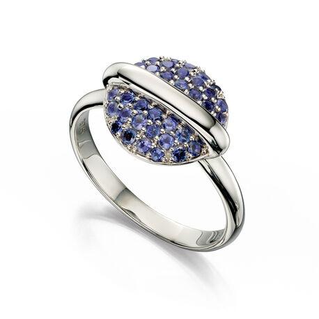 witgouden ring blauw ioliet Fiorelli eclipse