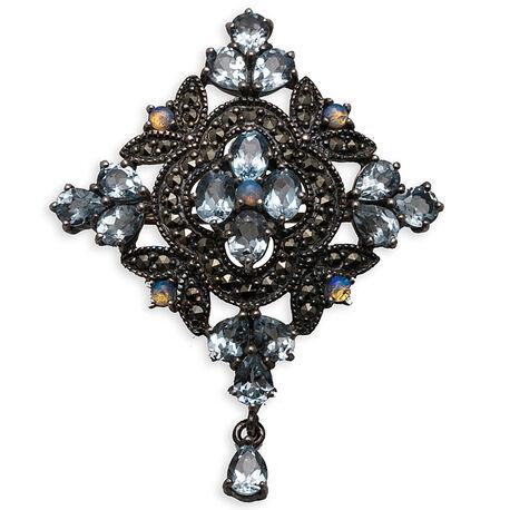 Zilveren Broche Markasiet Opaal En Topaas