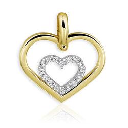 Gouden hanger hart met zirkonia
