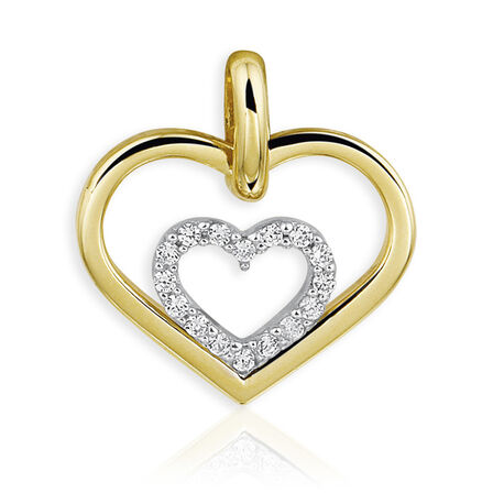 gouden hanger hartjes met zirconia