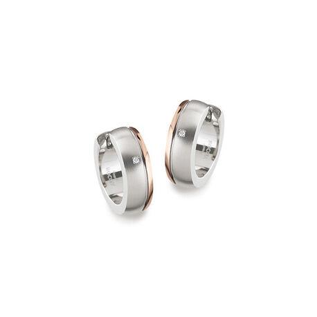 Boccia titanium creolen met diamant rose verguld 0539-17 zilver.nl