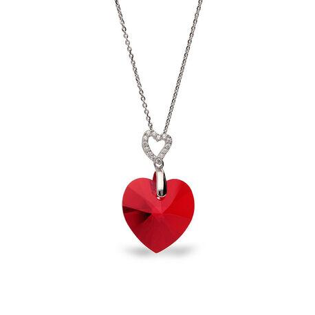 zilver ketting met rood hart tender heart light siam Spark