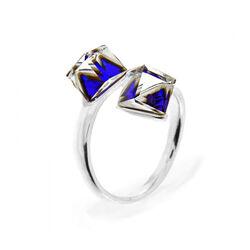 Spark Zilveren Cube Ring Bermuda Blue