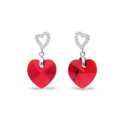 Zilver oorbellen hart Spark tender hart Light Siam