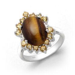 Zilveren Ring Met Tijgeroog En Citrien