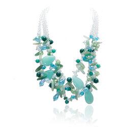 Feestelijk Collier Met Blauw Groene Edelstenen En Crystals