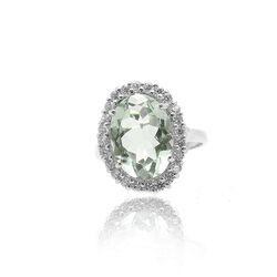 zilveren ring groen amethist en zirkonia