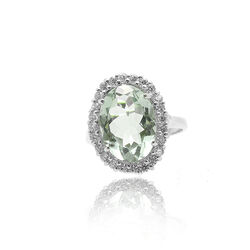 Zilveren Ring Met Een Groene Amethist En Zirkonia