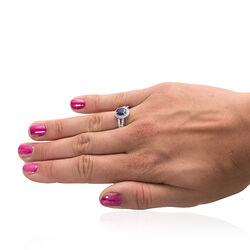 Zilveren Ring Met Saffier En Zirkonia