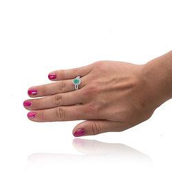zilveren ring met smaragd en zirkonia