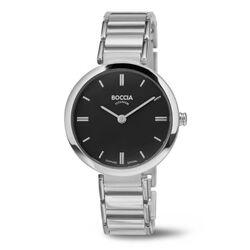 Boccia titanium horloge zwarte wijzerplaat 3252-02