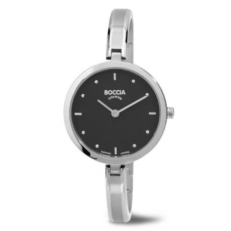 Titanium dames horloge zwarte wijzerplaat 3248-01 Boccia
