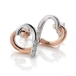 Bicolor hart oorstekers diamant